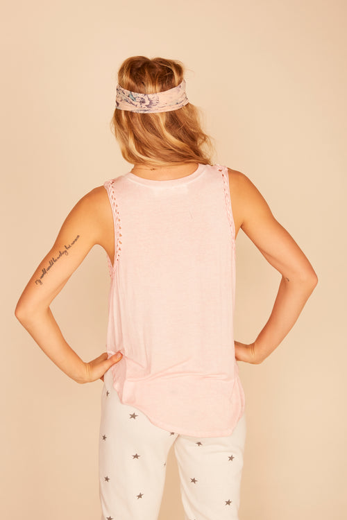 """Desert Lovers"" Braided Trim Front Tie Tank"