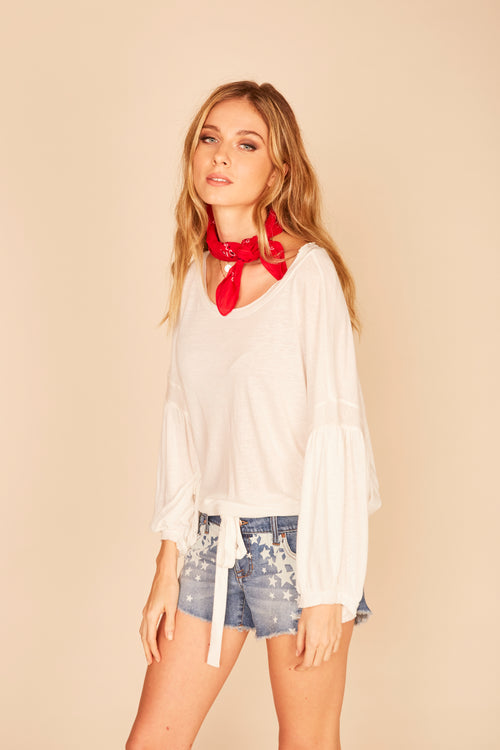 Balloon Sleeve Drawcord Tie Bottom Top -  Ivory