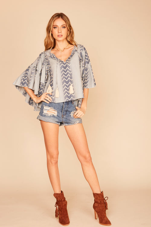Tribal Print Bell Sleeve Blouse