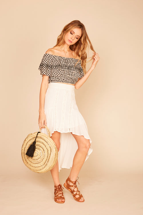 Ivory Front Lace Up Maxi Skirt