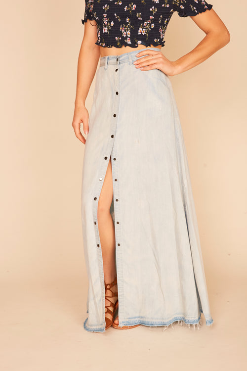 Light Denim Destroyed Tencel Snap Maxi Skirt