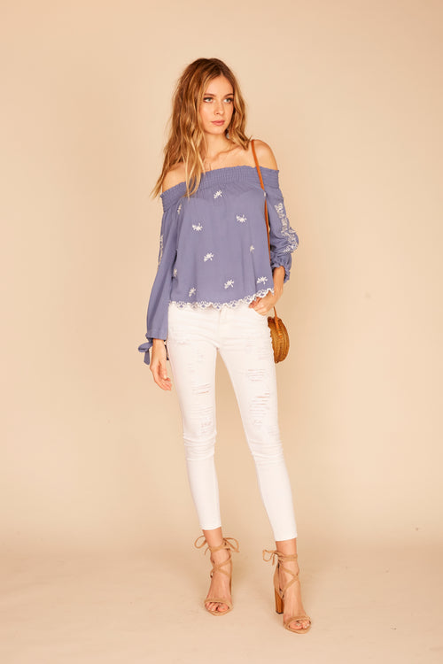 Embroidered Tie Sleeve Off Shoulder Top