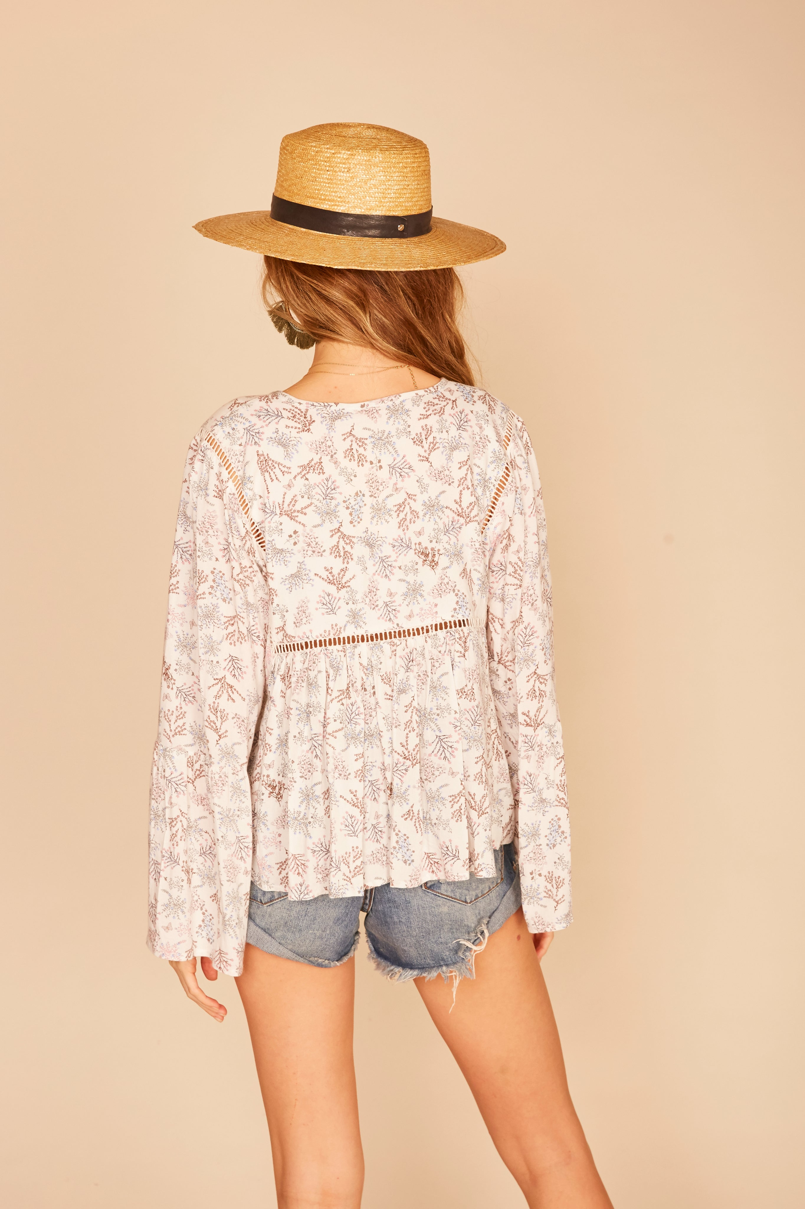 Ivory Floral Print Peasant Blouse