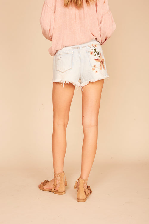 Light Denim Embroidered Floral Shorts