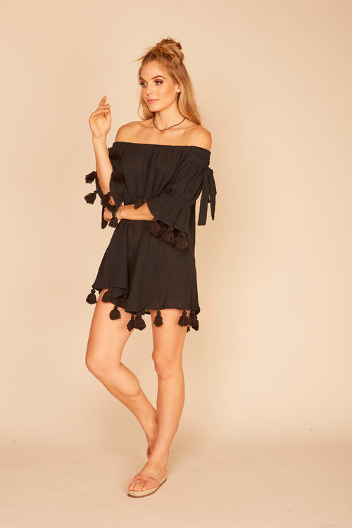 Chunky Tassel Trim Gauze Off-Shoulder Dress