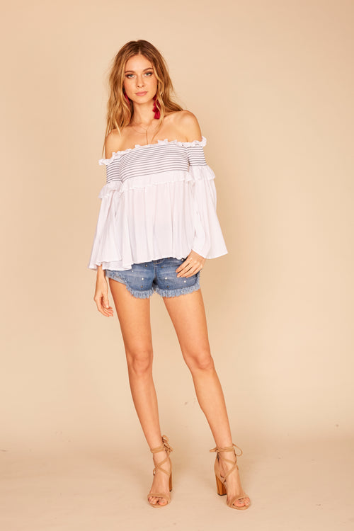 Smock Stitching Ruffle Off Shoulder Top