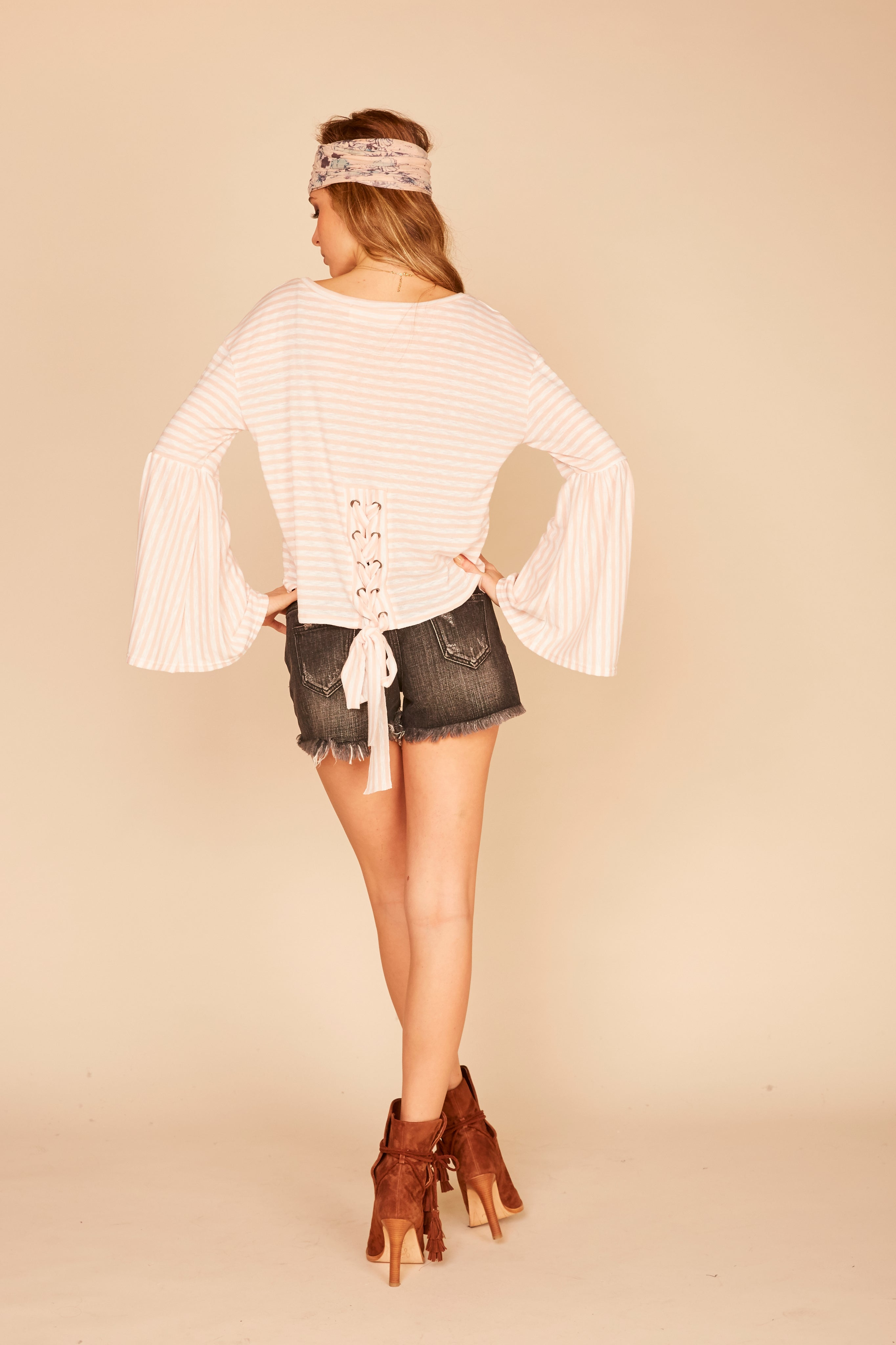 Stripe Lace Up Back Bell Sleeve Top