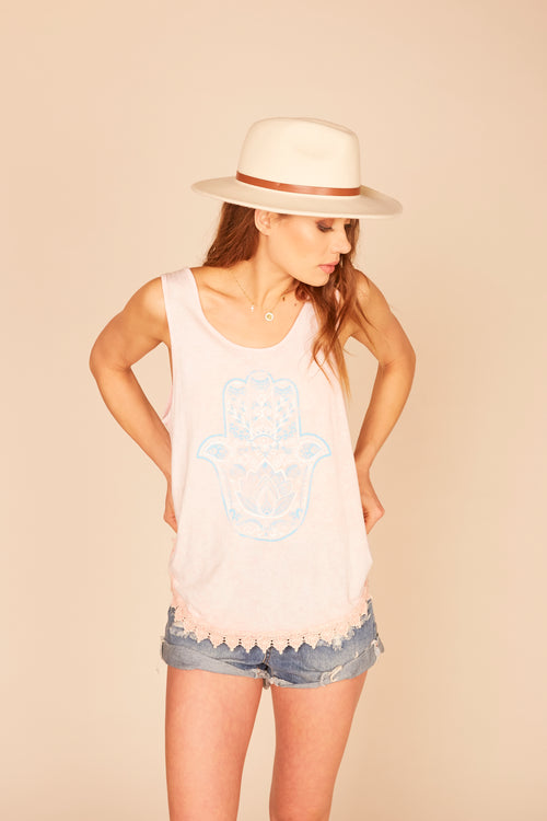 """Hamsa"" Graphic Crochet Trim Tank"