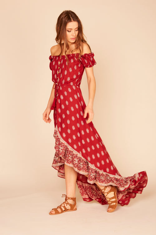 Ruffle Button Front Off Shoulder Maxi Dress