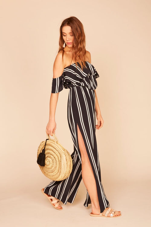 Stripe Off Shoulder Wide Leg Jumper