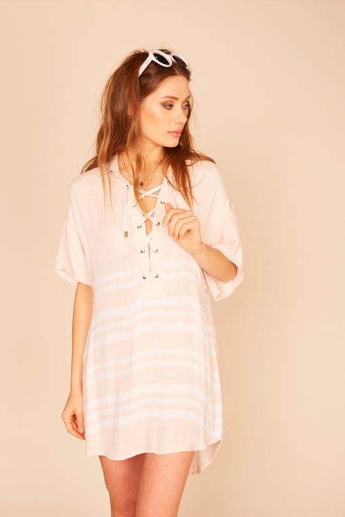 Stripe Lace Up Top - Pale Pink