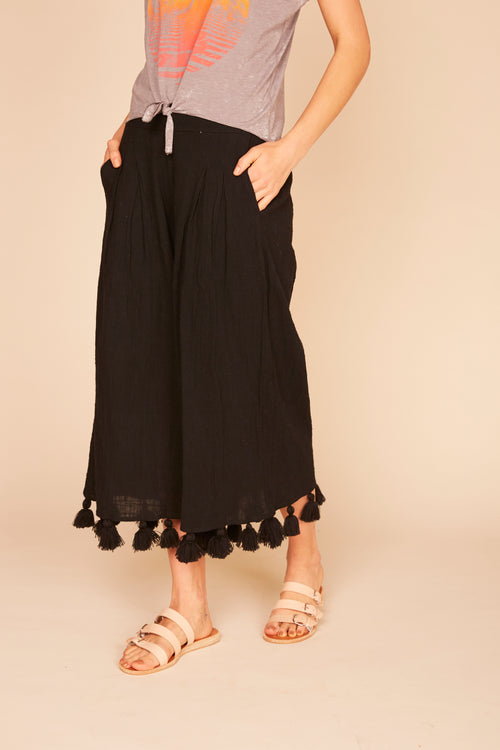 Chunky Tassel Trim Gauze Wide Leg Pants - Black
