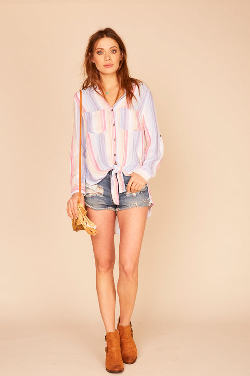 Sorbet Stripe Button Down Tie Front Blouse