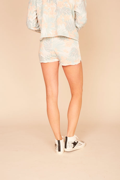 Hawaii Tropical Print Burnout Shorts