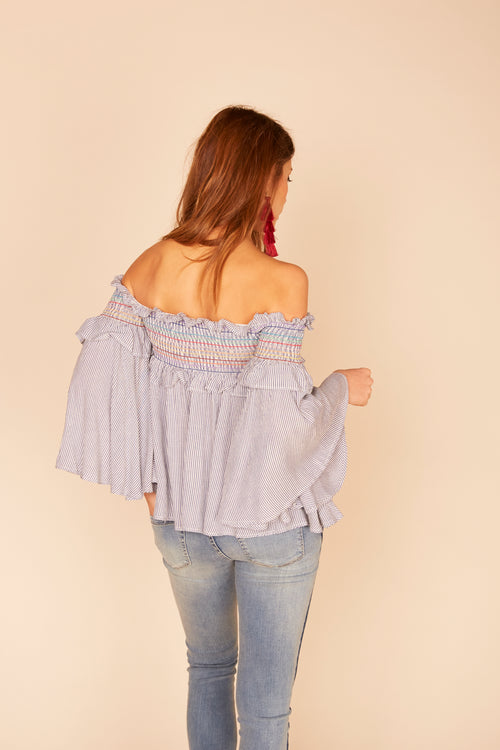 Rainbow Smock Stitching Ruffle Off Shoulder Top