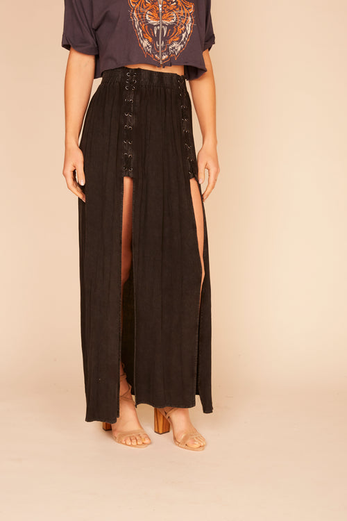 Washed Black Lace Up Maxi Skirt