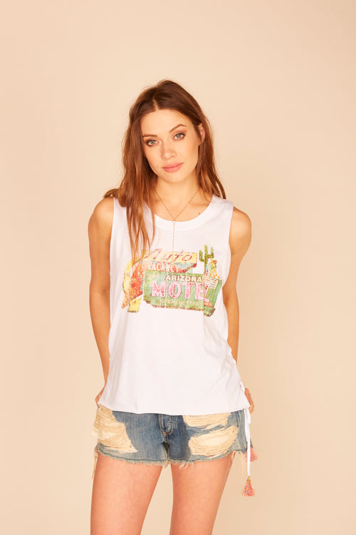 """Arizona Motel"" Side Lace Up Tassel Tank"