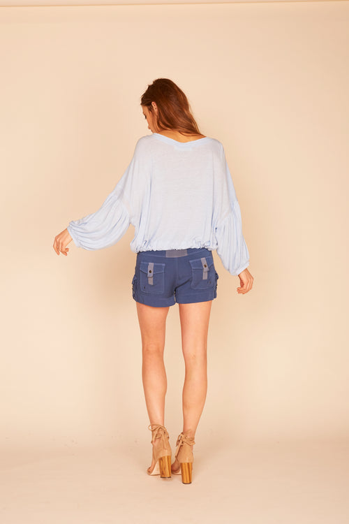 Balloon Sleeve Drawcord Tie Bottom Top -  Sky Blue