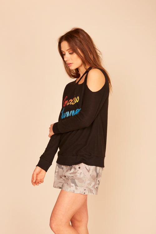 """Endless Summer"" Retro Brushed Hacci Cutout Sweatshirt"
