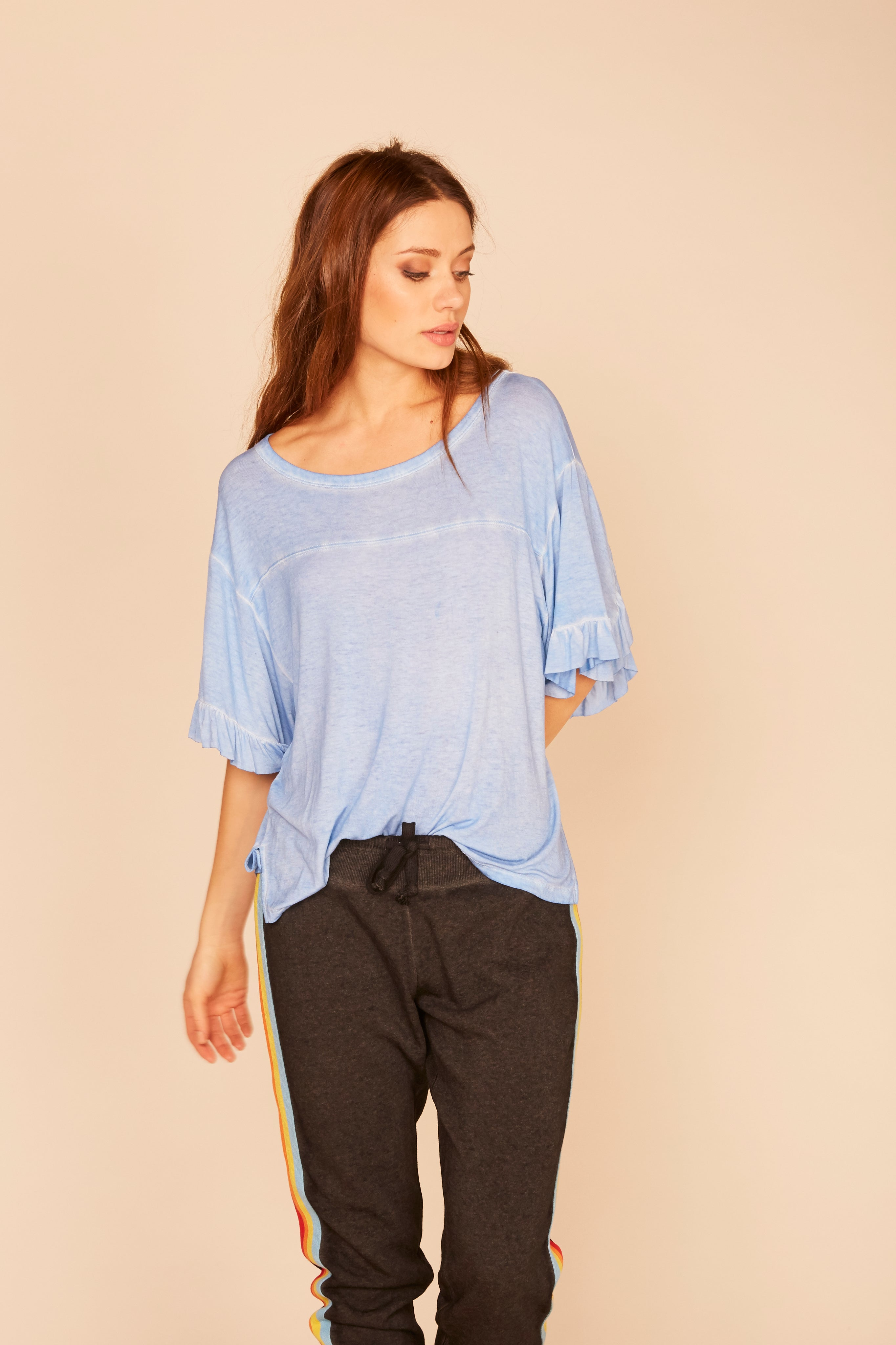 Ruffle Back Lightweight Tee