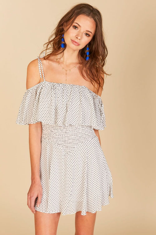 Polka Dot Smock Ruffle Dress