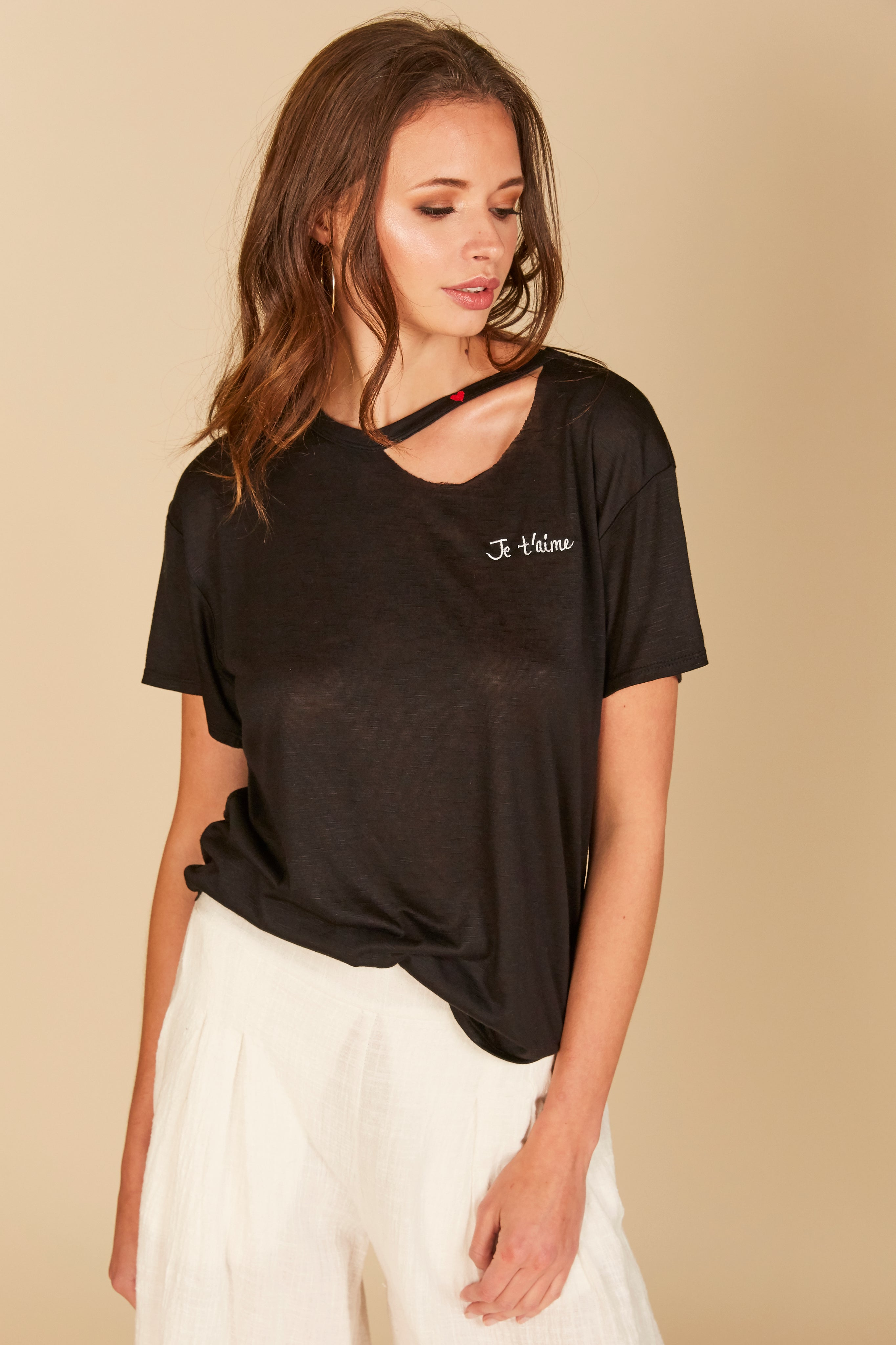 """Jetaime"" Embroidered Cutout Tee"