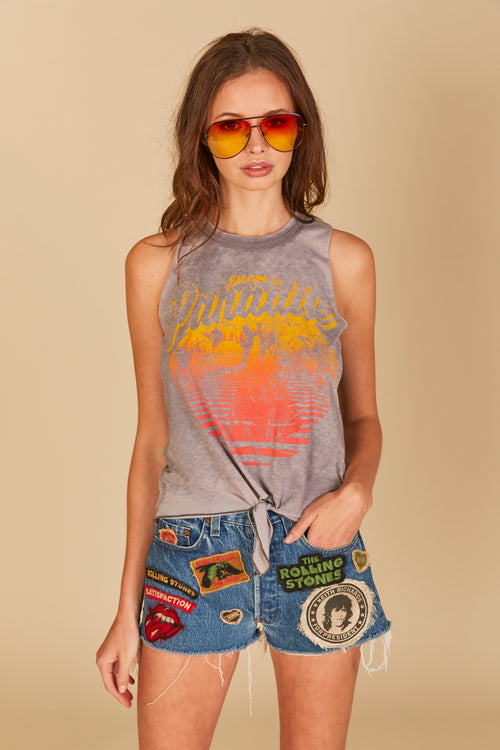 """Escape to Paradise"" Front Tie Burnout Tank"