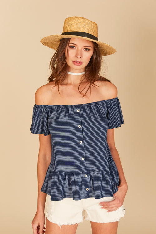 Stripe Button Down Ruffle Off Shoulder Top