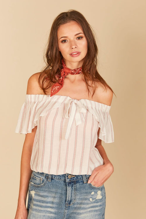 Stripe Knot Front Ruffle Off Shoulder Top