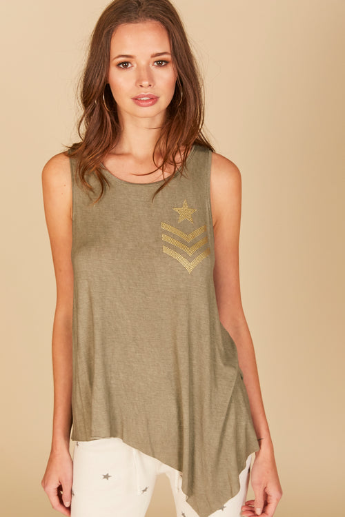 Stud Star Uneven Hem Raw Edge Tank