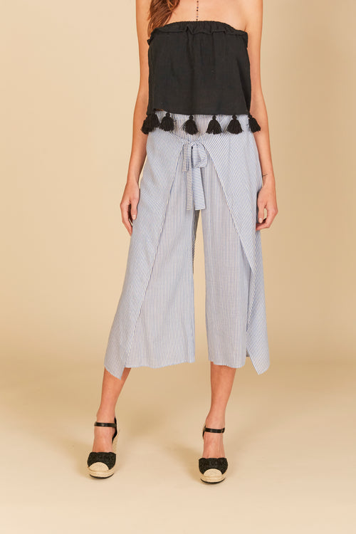 Pin Stripe Front Tie Slit Gaucho Pants