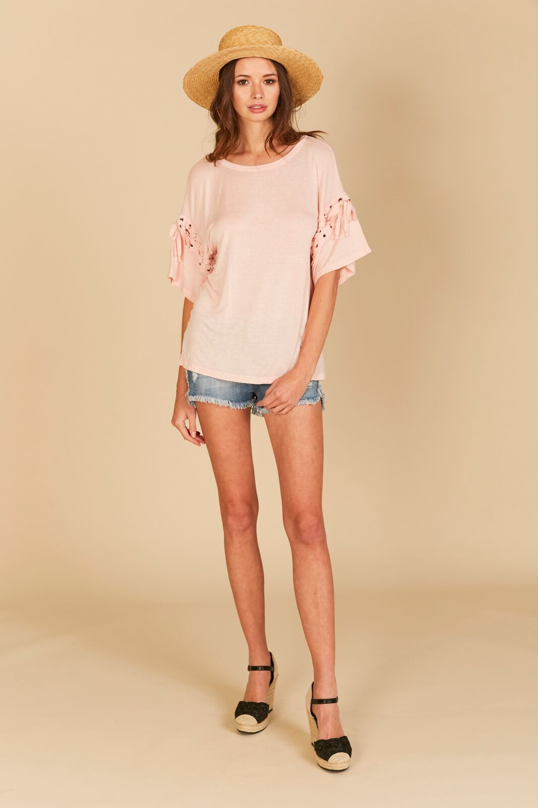 Washed Lace Up Sleeve Tee