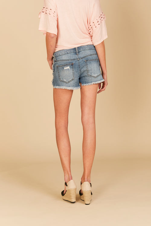 Medium Wash Denim Frayed Side Seam Shorts