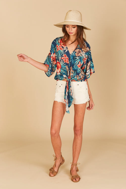 Retro Hawaiian Print Tie Front Top