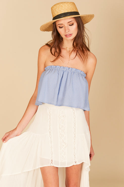 Pin Stripe Ruffle Tube Top