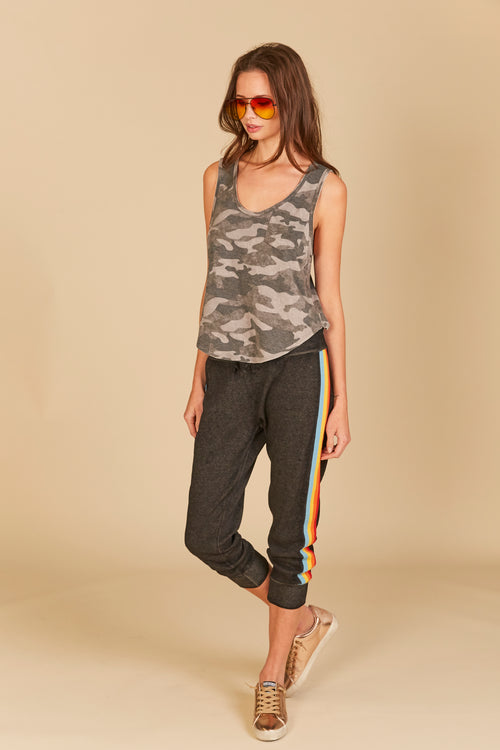 Camo Distressed Tank - Charcoal