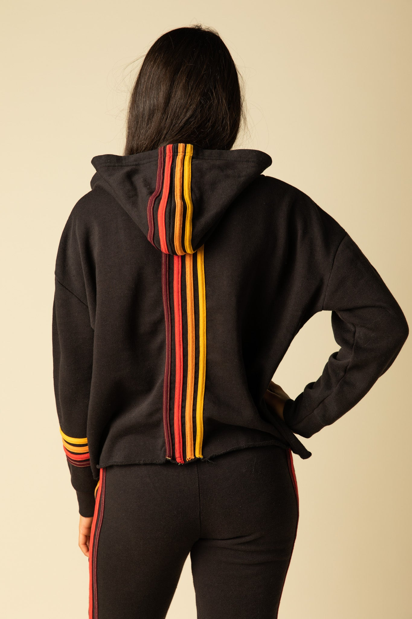 BURNOUT HOODY WITH MULTI STRIPES