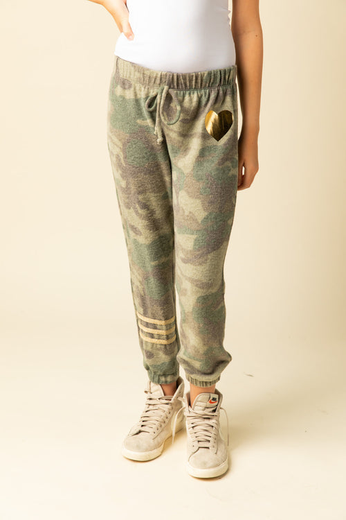 BRUSHED FLEECE JOGGER WITH GOLD HEART