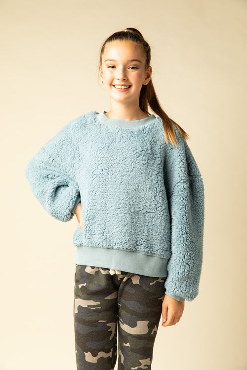 Powder Blue Bear Basic Crewneck