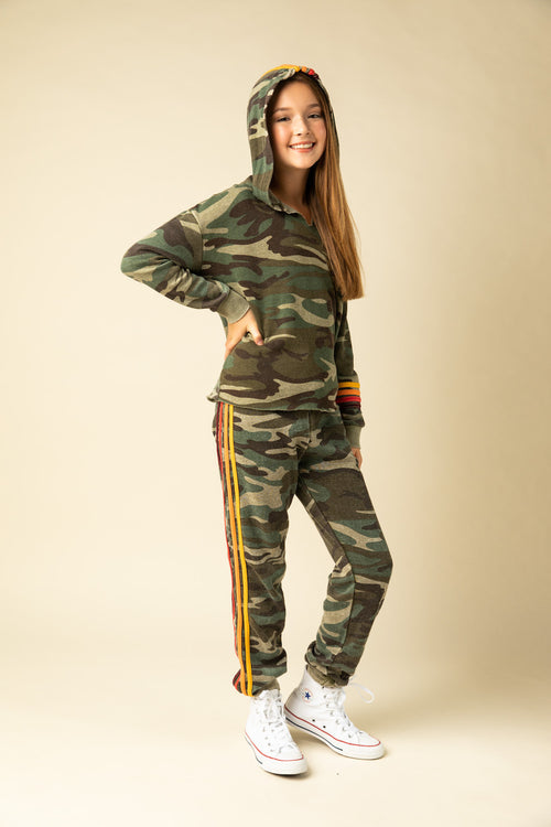 OLIVE CAMO BURNOUT HOODY WITH MULTI STRIPES