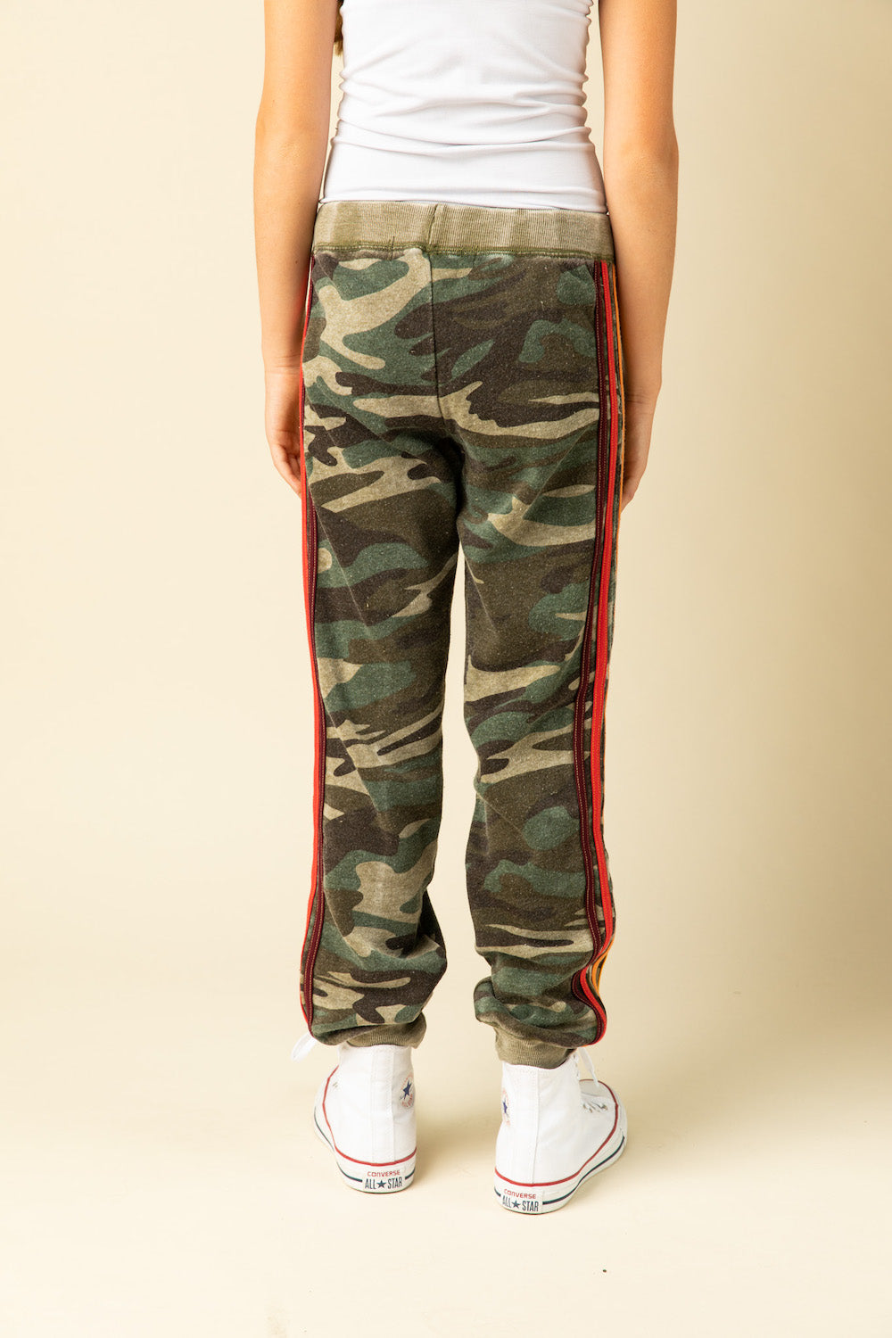 OLIVE CAMO BURNOUT JOGGERS WITH MULTI STRIPES