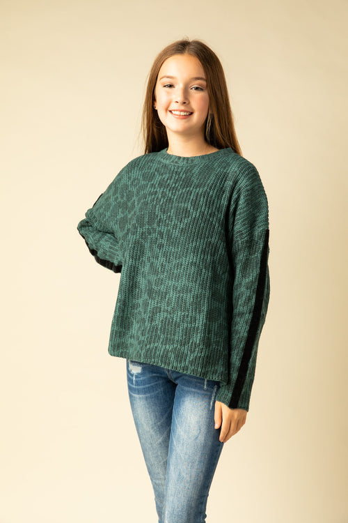 TEAL SPOTTED SWEATER