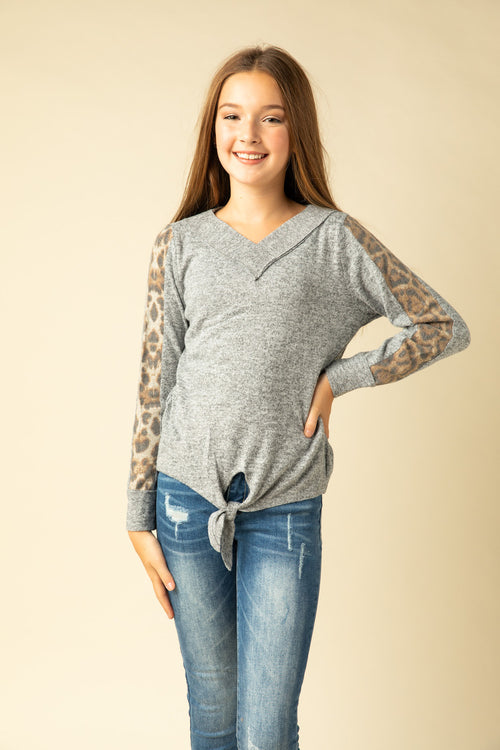SWEATER WITH LEOPARD STRIPE