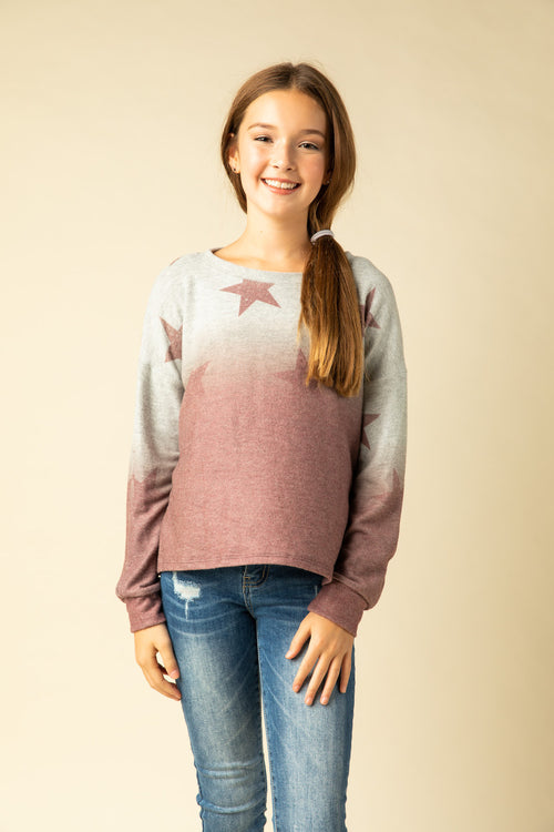 DIP DYE FLEECE WITH STARS