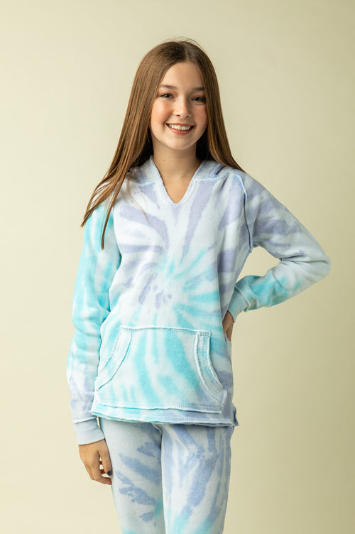 TROPICAL BLUE TIE DYE HOODY