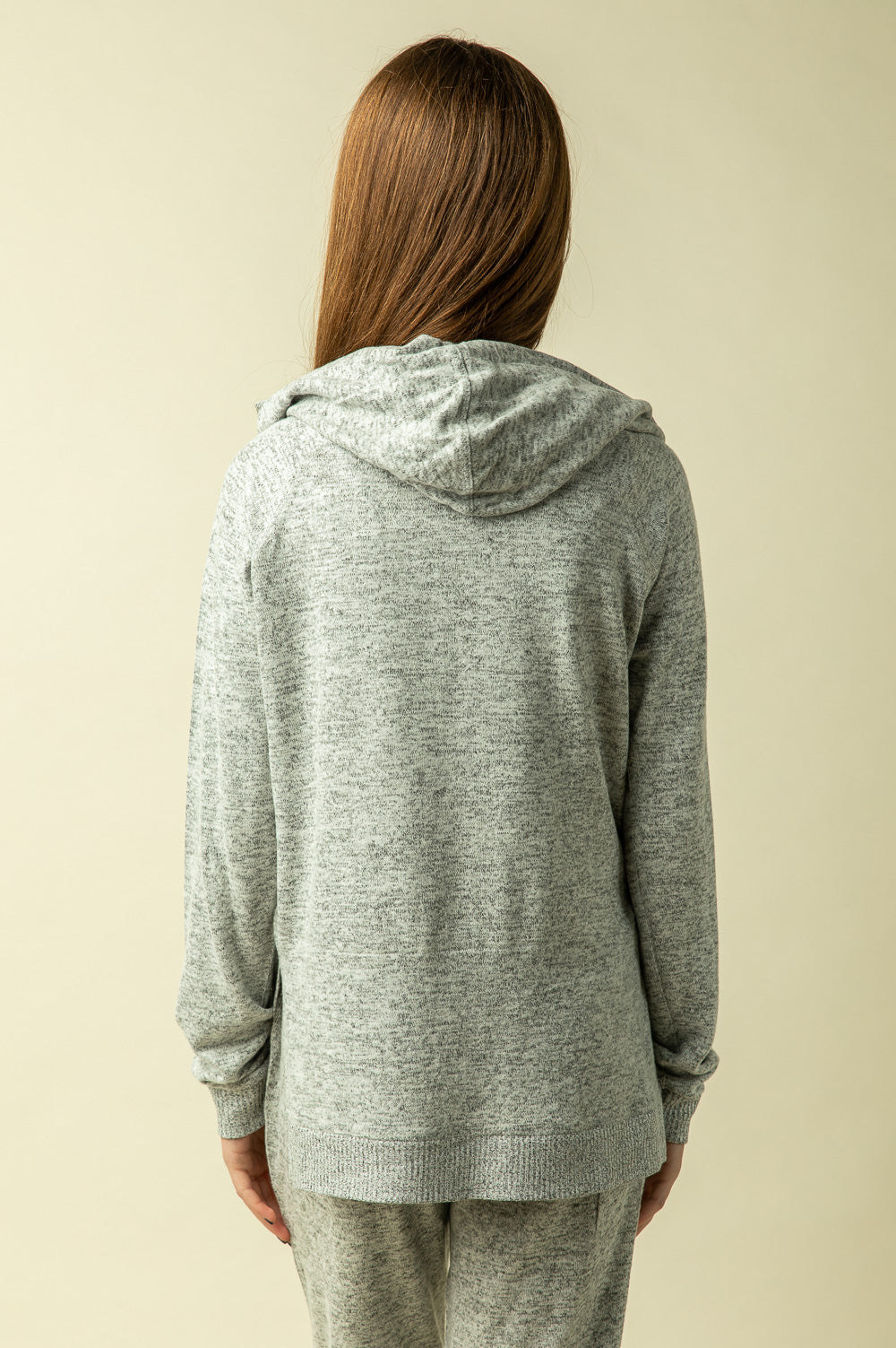 HEART BRUSHED FLEECE SIDE SLIT HOODY