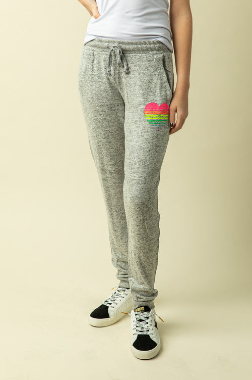 HEART BRUSHED FLEECE JOGGERS