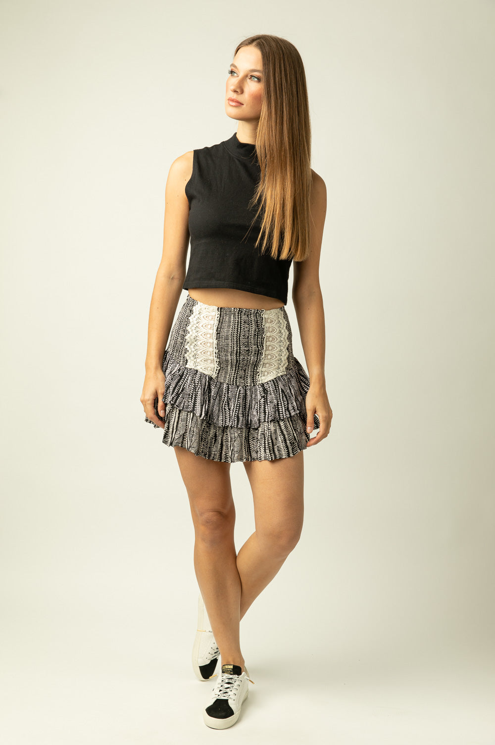 Tribal Print Smock Waist Skirt