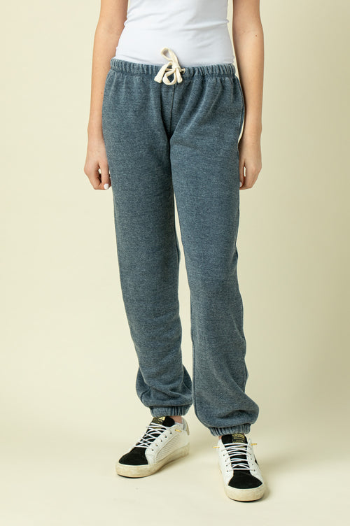 DEEP NAVY BURNOUT SWEATPANTS