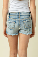 HI-SLIT EYELET DENIM SHORTS